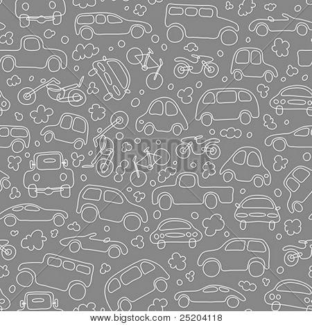 Traffic jam. Cars on asphalt. Seamless vector wallpaper
