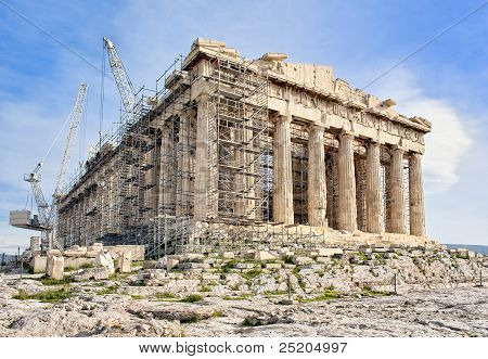 Ancient Greek Acropolis In Athens On Reconstruction