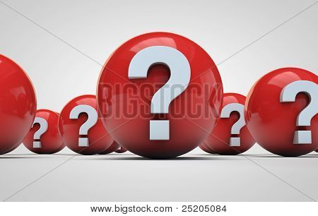 Question Marks On A Red Sphere