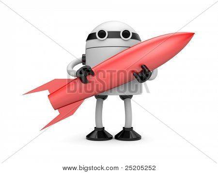 Robot with rocket. Image contain clipping path