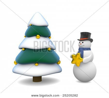 Christmas tree and snowman. Image contain clipping path