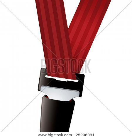 Car seat belt clipped in with red strap