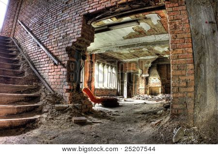 Abandoned interior of City Methodist Church in Gary, Indiana