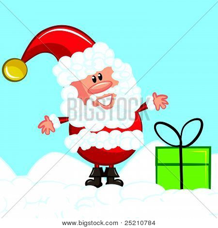 Cartoon Santa with gifts
