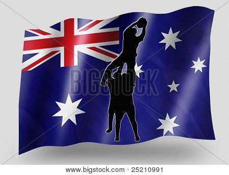 Country Flag Sport Icon Silhouette Australia Rugby Lineout