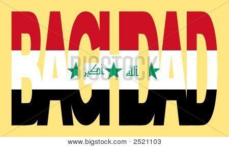 Bagdad Text mit irakischen Flagge