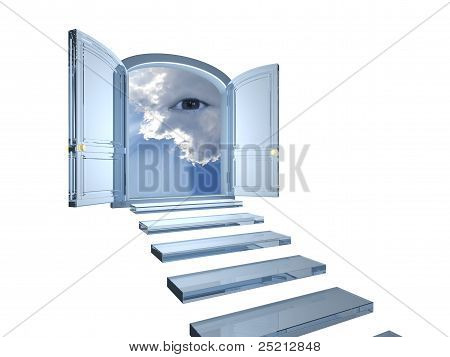Big Crystal Door Opened On A Mystic Eye In Clouds