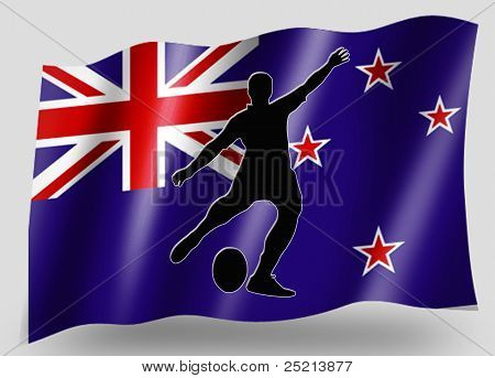 Country Flag Sport Icon Silhouette New Zealand Rugby Kicker