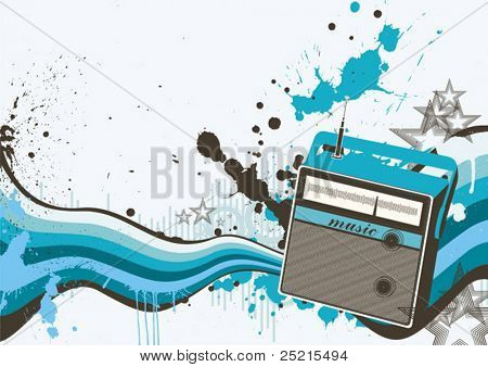 retro background with the image of radio receiver