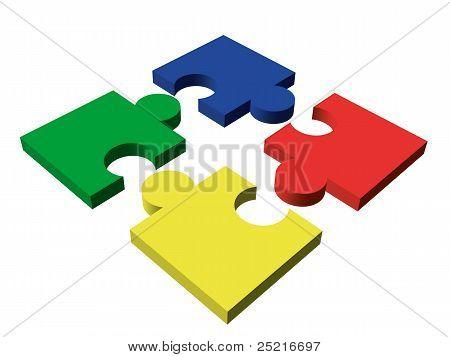 Four-piece Color Puzzle