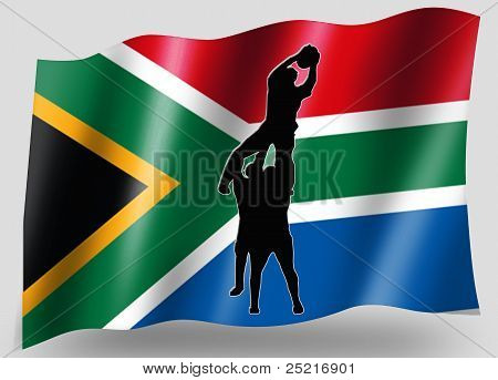 Country Flag Sport Icon Silhouette South Africa Rugby Lineout