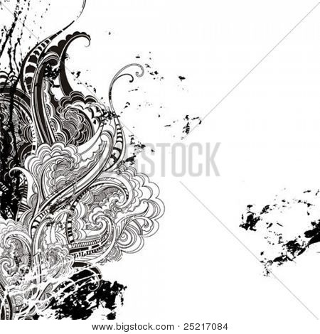 Grunge vector background. Floral decoration.