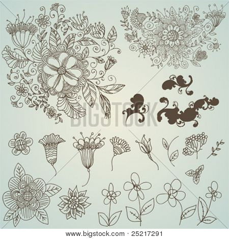 vector set: swirls and flower