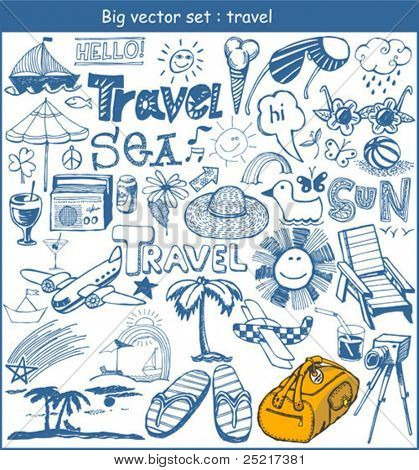 big vector set :  travel doodles