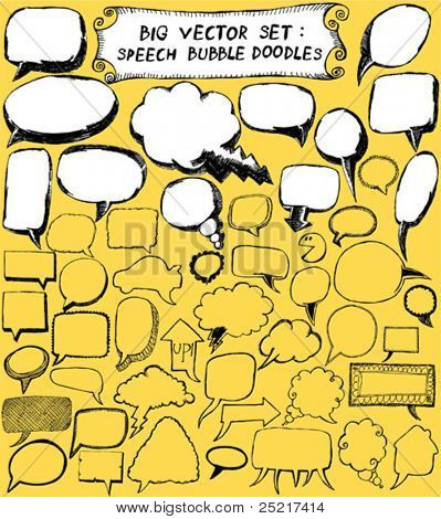 grande vector set: Doodles de bolha do discurso