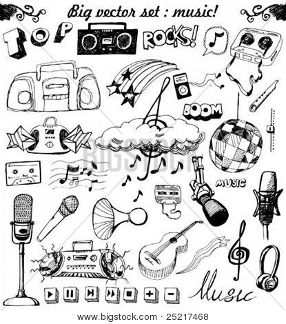 big vector set : Sketchy music illustrations
