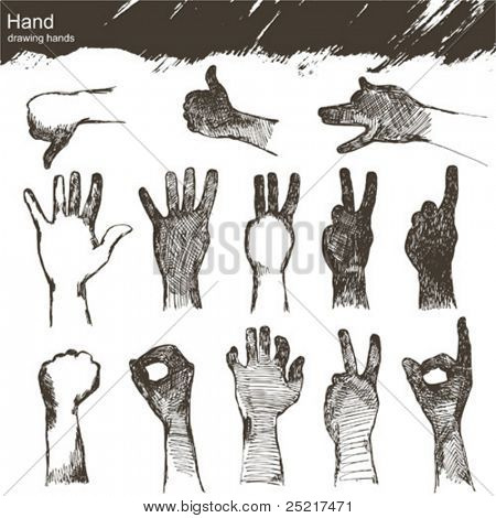vector set : sketch hands