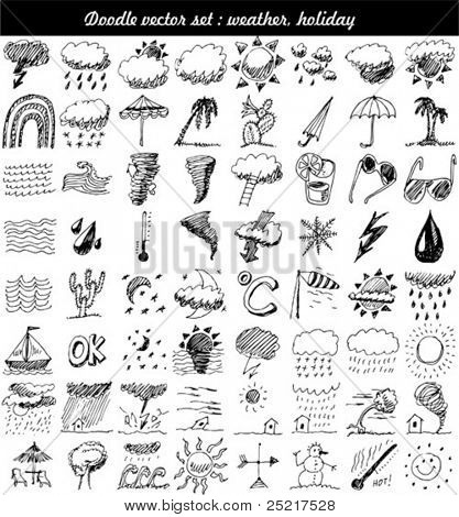 Doodle set: weer element vector