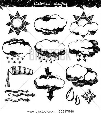 doodle vector set : weather