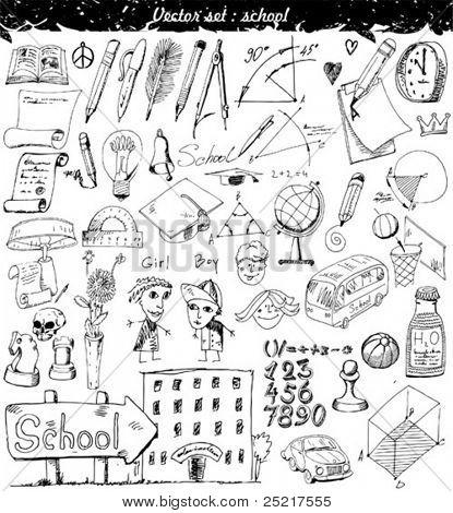 Vector ilustración conjunto - escuela
