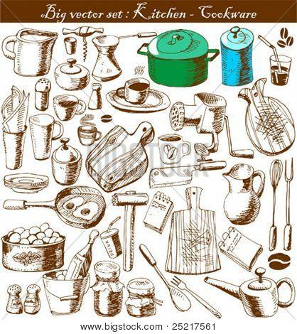 big vector set : doodle - kitchen