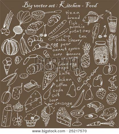 grande vector set: cozinha - alimentos