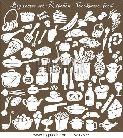big vector set : kitchen - food, cookware