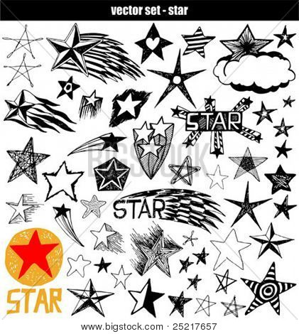 vector set - doodles - star