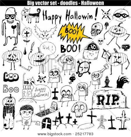 Halloween doodle set elements