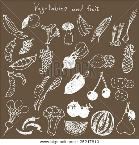 set - hand draw vegetables