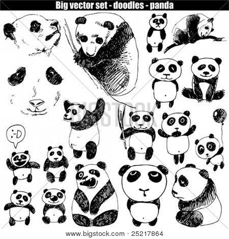 big vector set - doodle - panda