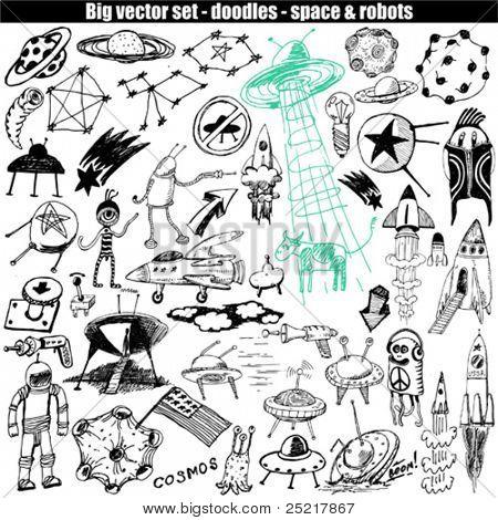 big vector set - doodle - space & robots