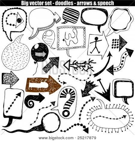 vector set - doodles - speech & arrows