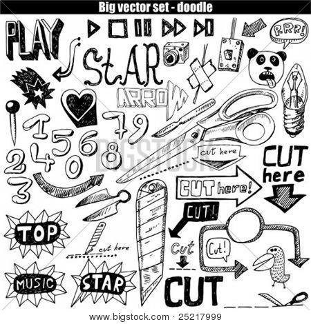 big vector set - doodle - cut