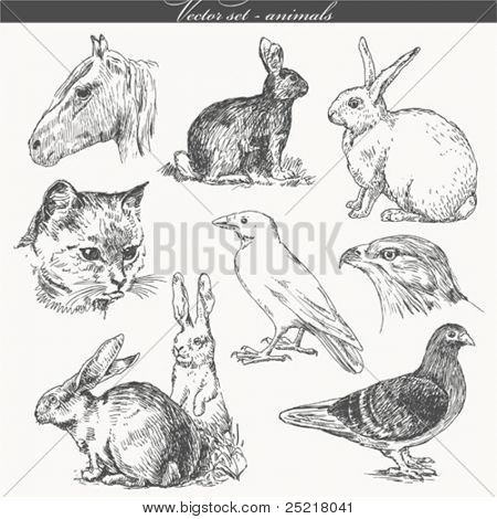vector set - handwork - animals