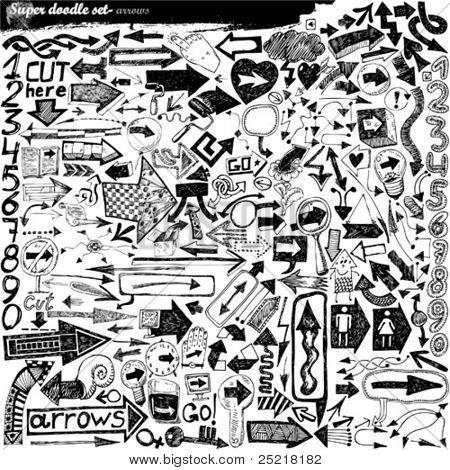 doodle Super conjunto - garabatos - flechas