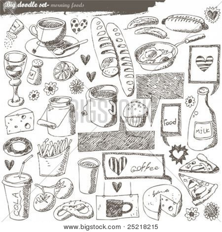 big vector set : kitchen - food
