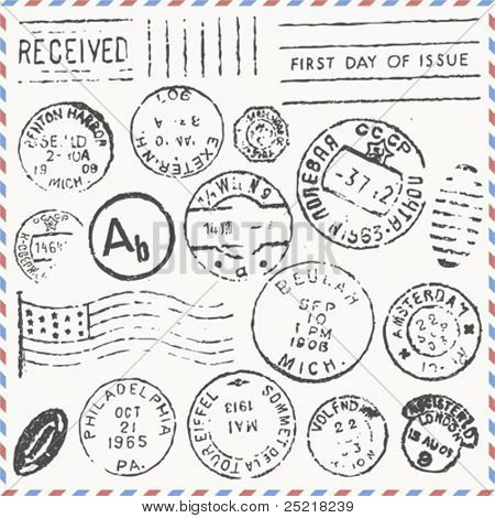 vector set: vintage postage stamps