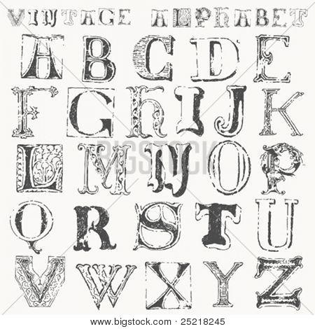 alfabeto vintage dibujado a mano