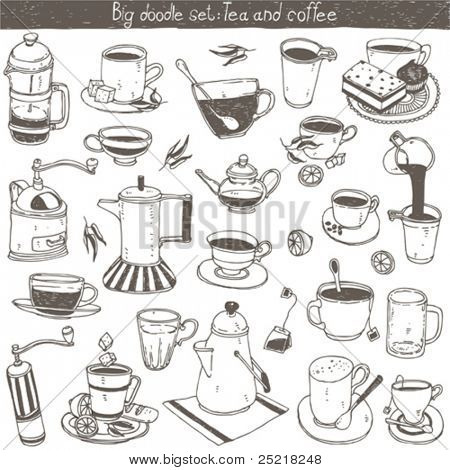 doodle set - coffee and tea design elements