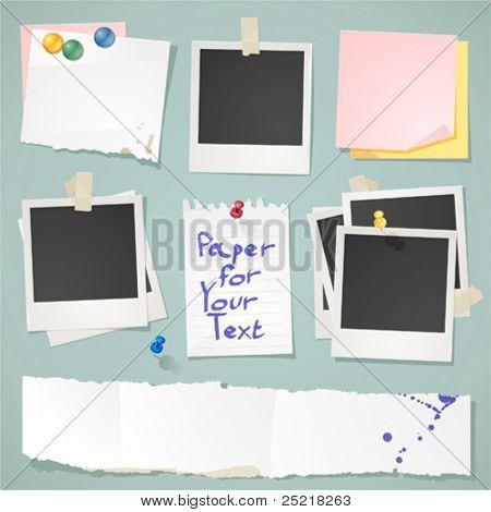 Coleção de papel e post-it de vetor