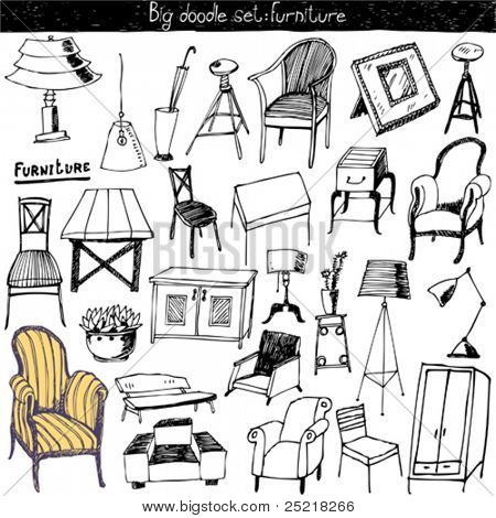 garabatos vector set - muebles