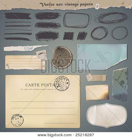 Vector set : vintage paper