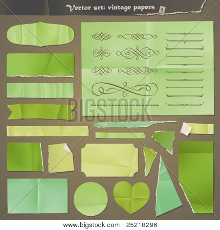 Vector set : vintage paper - green