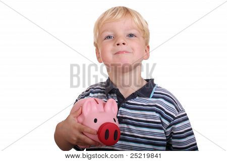Boy With Piggybank