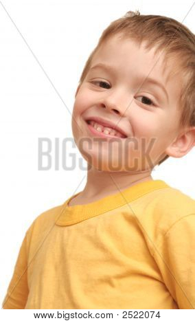The Happy Child On A White Background