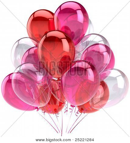 Balloons party birthday pink red white translucent