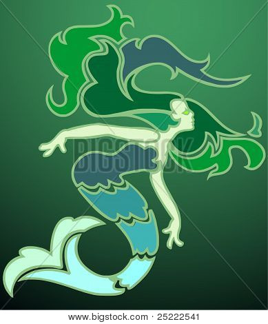 Mermaid in the Emerald Sea