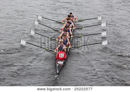 BOSTON - OCTOBER 23: Glastonbury High School youth men's Eights races in the Head of Charles Regatta