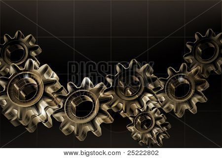Gears background Black, bitmap copy